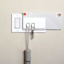 Walhub is a dedicated location to store the objects that often come and go with you. Walhub replaces your underutilized switch plate and adds practical function to a logical location.