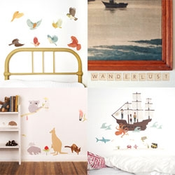 Pretty wall stickers from Mae ~ from birds and aussie creatures ~ to scrabble tiles to make your own messages ~ to pirate ship scenes and more!