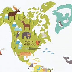 "Petit Collage World Map fabric wall decal ~ lovely colors and animals! 24"" x 36"""