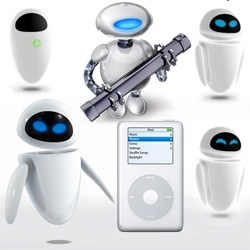 Wall-E's Eve ~ is a descendant of the iPod and the Automator... she too is a brainchild of Apple designer, Jonathan Ives.