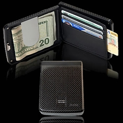 iWallet - carbon fiber, pairs with bluetooth to your phone, fingerprint reader to open wallet.