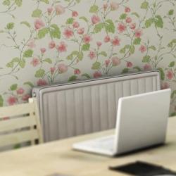 Heat-sensitive wallpaper.   Radiator on, flowers bloom.