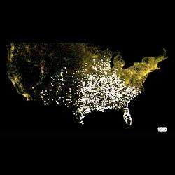 Kinda scary video of the spread of Walmart locations  around the United States over the years.