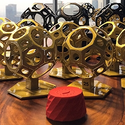 Circulo de Oro 25 has stunning truncated cuboctahedron trophies! And Publicis Mexico won agency of the year in addition to 3 Gran Prix Awards and 9 Golds for the NESCAFÉ Alarm Cap project we did with them!
