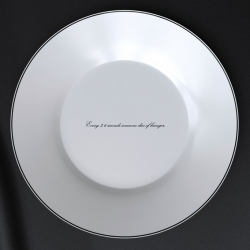 This plate looks like an ordinary plate, but the bottom is printed with undeniable, provocative, bitter and indigestible sentences about hunger statistics in the world in heat sensitive ink.