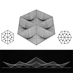 Exquisite 3D renderings of hyperbolic paraboloid roof forms from the 1960 publication 'Structures of Warped Surfaces' by Argentine architect Eduardo Catalano.