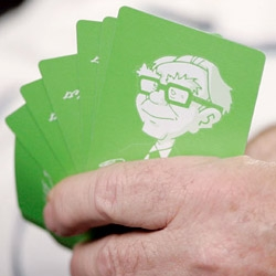 "We thought these cards were pretty silly/cute.  ""Mr. [Warren] Buffett's likeness on souvenir playing cards given to shareholders."""