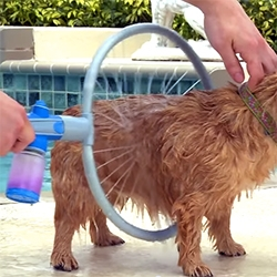 Woof Washer 360 hose attachment for dog washing. It's been making the rounds as gifs, but i didn't realize it was real!