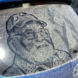 Don't Wash Me!!! scott wade draws on dirty windshields.