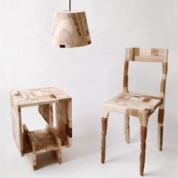 """This collection is made entirely out of the factory waste collected.The pieces were put together to form a wood patchwork before they were made into; a chair, a book box and a series of 12 lamps."""