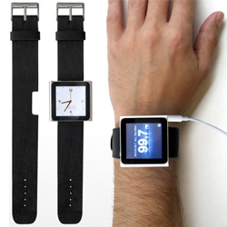 Rock Band turns your iPod nano into a wristwatch. The genuine leather strap has a notch cut out for the iPod nano's built in clip.
