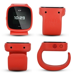 "FiLIP - the ""phone"" for kids that looks like a watch. You can make/receive calls from 5 numbers, track their location, etc via an app, there's an emergency button to call through the programmed numbers, and more. Sounds good for elderly/kids."