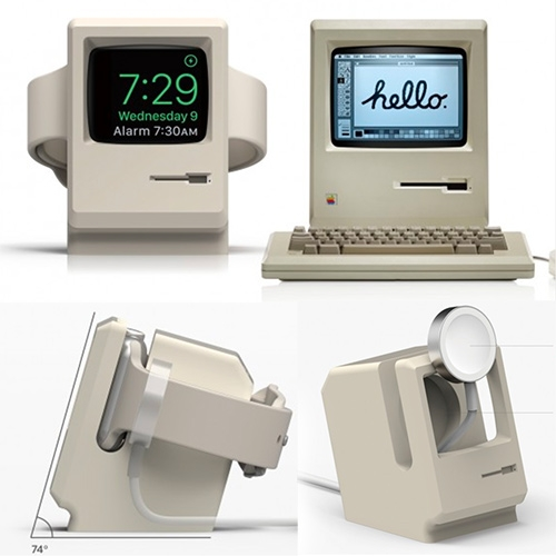 Elago Apple Watch Stand turns your watch into a mini vintage Mac (complete with a spot for the charging puck.)