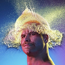 Tim Tadder's Water Wigs photo series - bald men + water balloons = amazing water hair styles