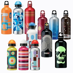 instead of bottled water, how about water bottles? re-useable, eco-friendly, and--these ones from SIGG--totally stylin'.