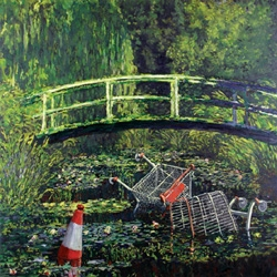 British grafitti artist Banksy also makes interesting re-claimed paintings.