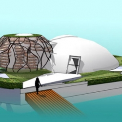 The Waterpod is a futuristic floating eco-habitat that makes extensive use of renewable energy and recycled materials.