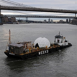 The Waterpod is moving around NY, between the East River and the Hudson, showcasing artworks, performances and such.
