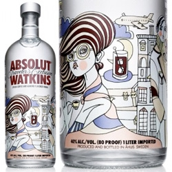 Absolut Watkins, traveler's exclusive limited edition designed by swedish artist Liselotte Watkins.