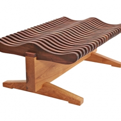 The Wave Bench by David Stine is made from a single sustainably harvested Black Oak and is finished with a non-VOC product.  Eco friendly meet modern.