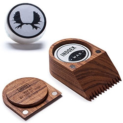 Indoek Wax Kit - Hand Shaped by Todd St. John. The comb tines are on the bottom edge and the scraper is a detachable lid that is seamlessly held in place by two magnets.