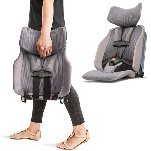 The WAYB Pico is an 8 lb compact travel car seat made of aerospace-grade aluminum and high-performance mesh designed and manufactured by outdoor gear vets. It looks like the Aeron Chair of car seats. Currently crowdfunding.