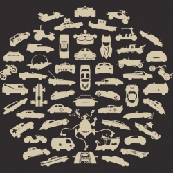 """Another new """"collection"""" tee by Chop Shop. This time the theme is VEHICLES. Can you figure out all 55?"""