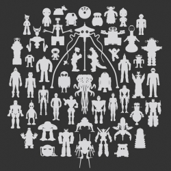 51 famous robots on one tee from literary, film, television, toy, video game and even one from Rock history. Can you find Konky? In sizes for Men and Women.