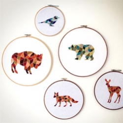 Hide The Good Scissors - fun polygonal nature embroidery
