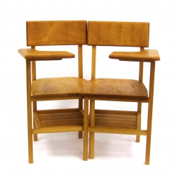 Two hand built school chairs that explore the relationships and connotations of an early childhood memory through their connection to one another.