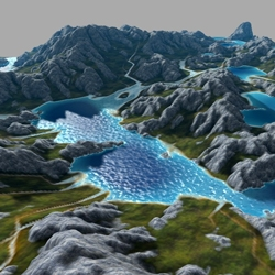 WebGL GPU Landscaping and Erosion by Florian Bösch is a browser based landscape generator. Fly around and build new terrains and then flood them!