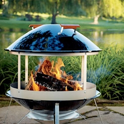 The Weber Fireplace Grill has a beautiful porcelain enamel coating.