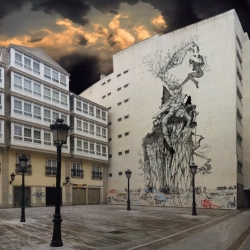 Animated Mural / GIFitti by spanish Streetartist WEDO.