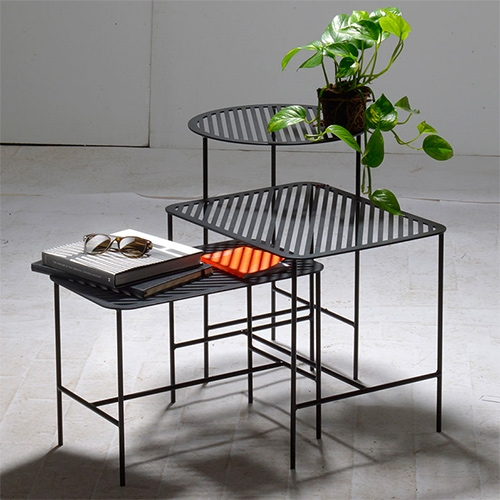 Weld & Co Grid Side Tables. Laser cut sheet steel powder coated black.