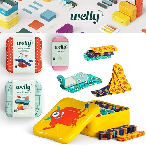 Welly first aid solutions are packaged in adorable stackable tins with cheeky names like Human Repair Kit, Oops Equipment, Superhero Supplies, Bravery Badges, Blister Blasters, Bumper Stickers, Calm Balm and more... Launching at Target 4/7.