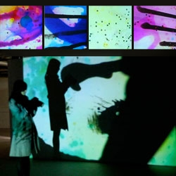 Jennifer Wests video installations are a mixture of film that has been physically altered with everything from being rolled in food and jello shots to eye liner... See the video of people interacting with her projections from the CK event last night!