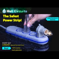 Wet Circuits are power strips that are water resistant, and touch, spark and overheat protected.