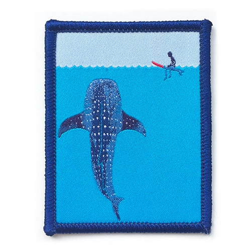 Whale Shark Woven Patch by illustrator Jonas Claesson - such a cute tiny surfer too.