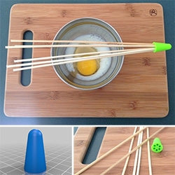 3D Printed connector to turn bamboo skewers into a whisk.  Available for download on Thingiverse.com