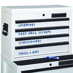 Sears Craftsman does their tool chest in a limited edition White Dry-Erase model... gloss white with black detailing and you can label it with a dry erase marker...