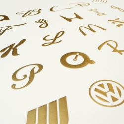 "New foil stamped/embossed posters from Jason Dean of The Best Part: ""The ABC's of Branding"""