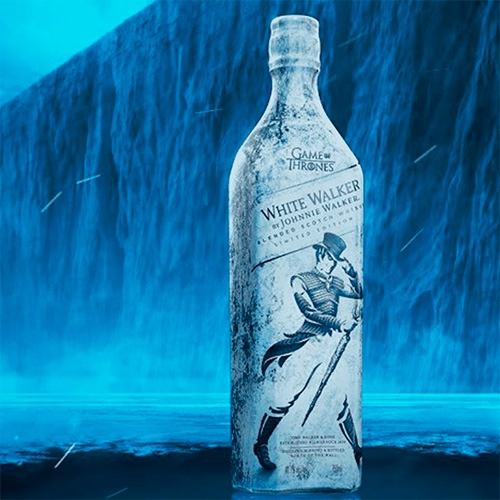 "Limited Edition White Walker by Johnnie Walker for the final season of Game Of Thrones. ""The limited edition bottle utilizes thermochromic ink to give fans a frosty surprise message when frozen."""