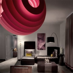 NY based BBG-BBGM architects designed the new interiors for the guest rooms at the W hotel in Manhattan.