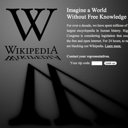 STOP PIPA/SOPA - Wikipedia goes dark asking you to imagine a world without free knowledge.