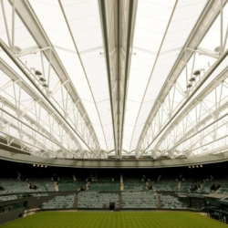 Wimbledon's Centre Court recently received a new retractable roof constructed out of translucent fabric. It stands to eliminate rain delays, ensure greater security for the grass courts, more comfortable viewing for fans.