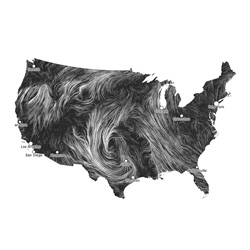 Wind Map by Fernanda Viégas and Martin Wattenberg of Hint.fm is a beautiful visualization of historic wind data across the US.