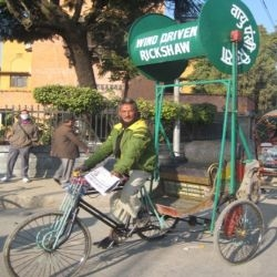 Nepal's Wind powered Rickshaw has windmill installed on it that provide extra thrust to the pedicab.