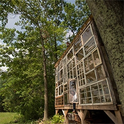 Lovely Half Cut Tea video with Nick Olson & Lilah Horwitz - they quit their jobs and built a house of found windows! The nicest bit is about how building something as big as a house helped her realize she could do anything!