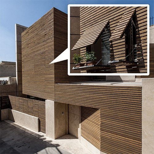 Interesting stealthy wood slat windows for this house in Isfahan, Iran designed by Bracket Design Studio.