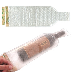Wine Skin ~ bubble wrap specially shaped to keep your bottle of wine protected...